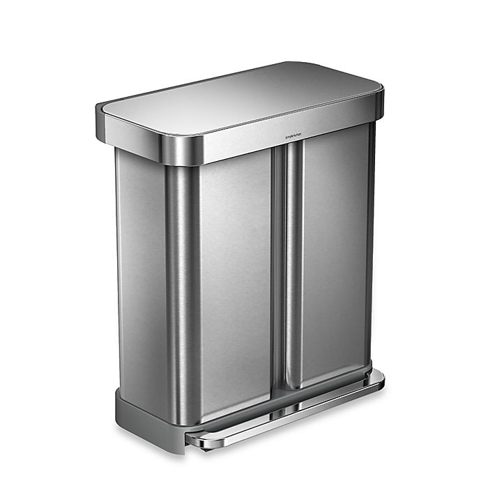 Alternate image 1 for simplehuman® Dual Compartment Rectangular 58-Liter Step Trash Can in Brushed Stainless Steel