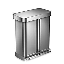 simplehuman® Dual Compartment Rectangular 58-Liter Step Trash Can in Brushed Stainless Steel