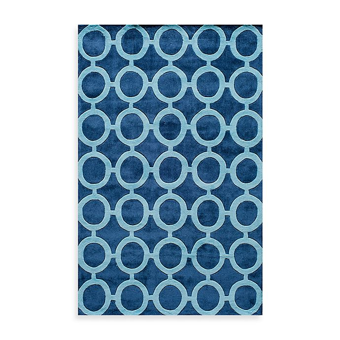 Alternate image 1 for Rugs America Jourdan Circles 5-Foot x 8-Foot Area Rug in Royal Blue