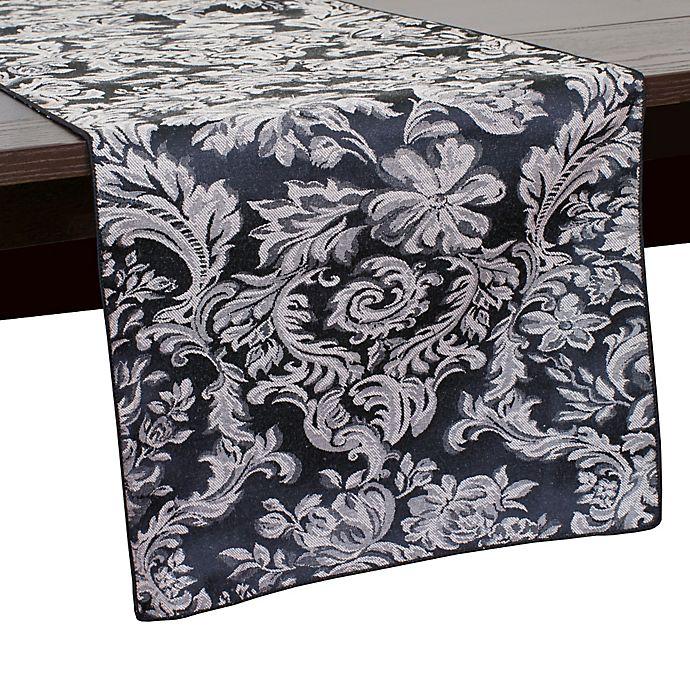 Alternate image 1 for Miranda Damask 108-Inch Table Runner in Black