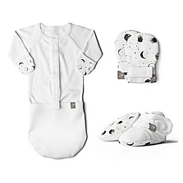 goumi Preemie 3-Piece Many Moons Gown, Mitts, and Booties Set
