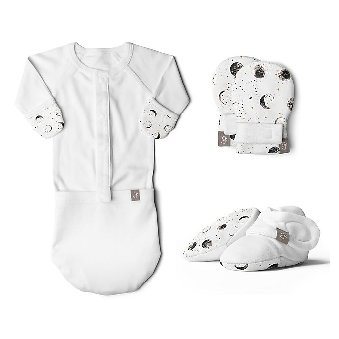 Alternate image 1 for goumi Organic Cotton Preemie 3-Piece Many Moons Gown, Mitts, and Booties Set