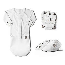 goumi Organic Cotton Preemie 3-Piece Many Moons Gown, Mitts, and Booties Set