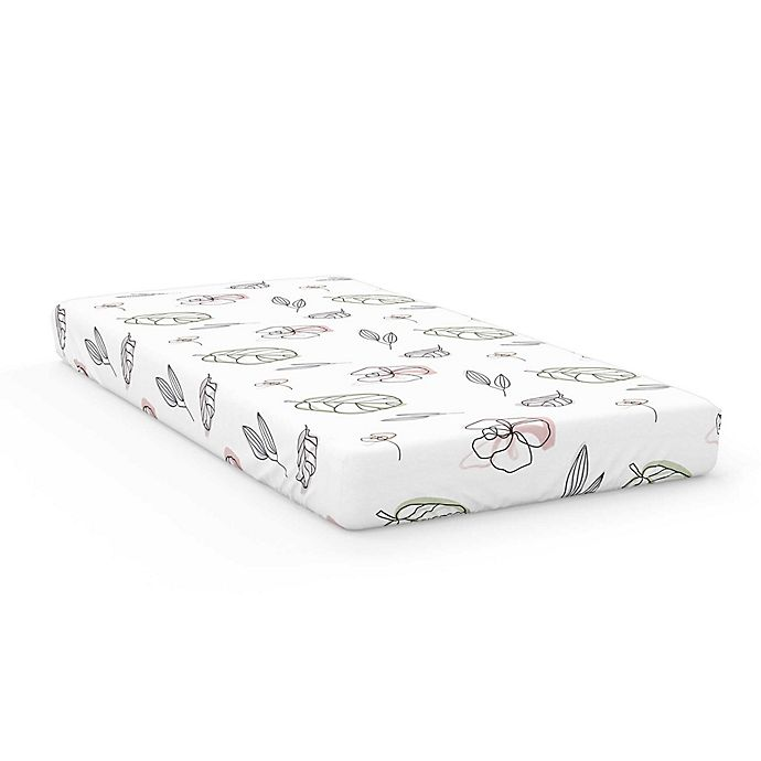 Alternate image 1 for Goumi® Organic Cotton Abstract Floral Crib Sheet in Pink/White