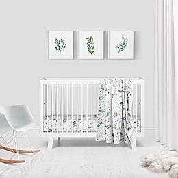 Goumi® Botanical 3-Piece Crib Bedding Set in Green/White