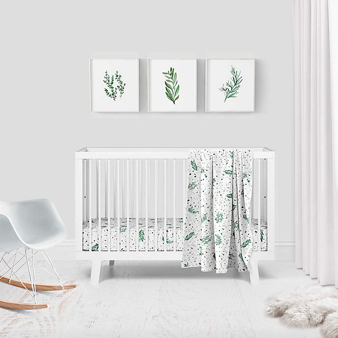 Alternate image 1 for goumi® Organic Cotton Botanical 3-Piece Crib Bedding Set in Green/White