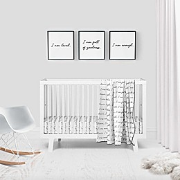 Goumi® 'You are Loved' 3-Piece Crib Bedding Set in Black/White