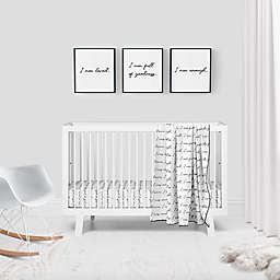 goumi®Organic Cotton 'You are Loved' 3-Piece Crib Bedding Set in Black/White