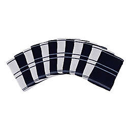 J&M Home Fashions Ribbed Terry Dish Cloths in Blue/White (Set of 12)