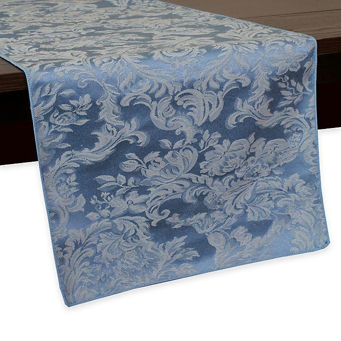 Alternate image 1 for Miranda Damask 108-Inch Table Runner in Slate Blue