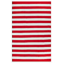 Fab Habitat Nantucket Stripe 2' x 3' Indoor/Outdoor Accent Rug in Red/White