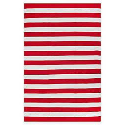 Fab Habitat Nantucket Stripe 2'6 x 8' Indoor/Outdoor Runner in Red/White