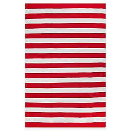 Fab Habitat Nantucket Stripe 5' x 8' Indoor/Outdoor Area Rug in Red/White