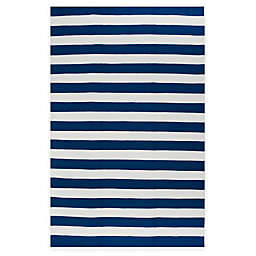 Fab Habitat Nantucket Stripe 6' x 9' Indoor/Outdoor Area Rug in Blue/White