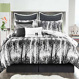 VCNY Woodland 6-Piece Twin XL Comforter Set in Black/White