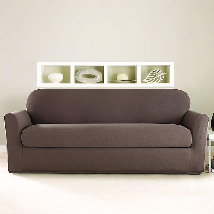 Sure Fit 174 Stretch Twill 2 Piece Sofa Slipcover In Mocha