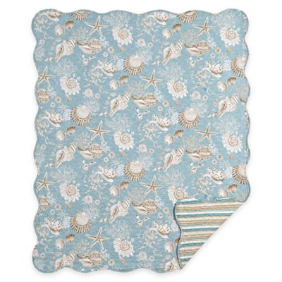 Natural Shells Quilted Throw In Blue Tan Bed Bath And