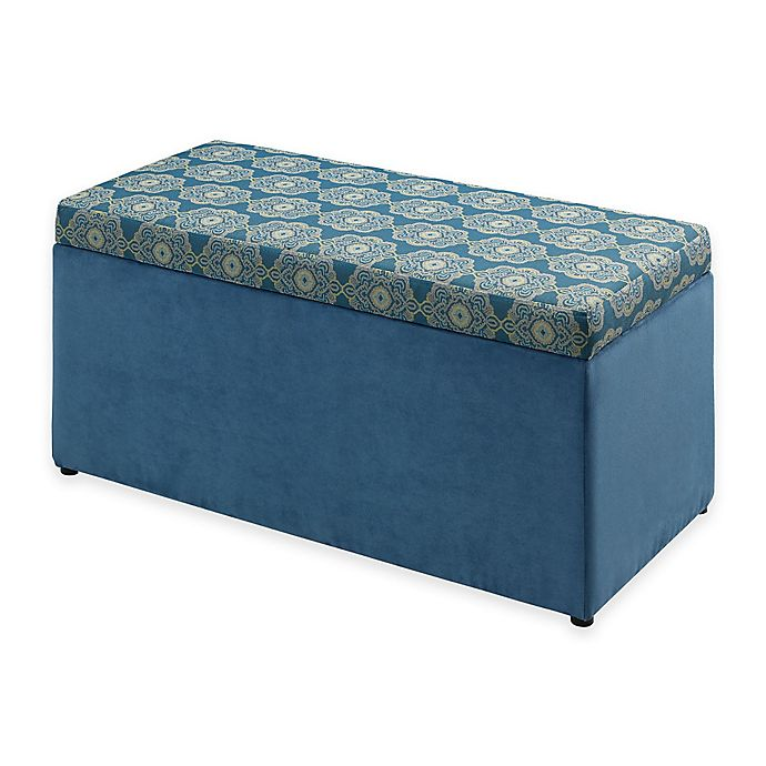 Alternate image 1 for Linon Home Tree House Lane Upholstered Toy Chest in Blue Passport