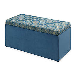Linon Home Tree House Lane Upholstered Toy Chest in Blue Passport