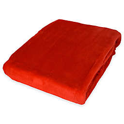 Plush Velvet Throw Blanket in Red Hot