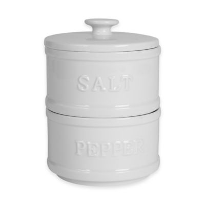 Everyday White® By Fitz And Floyd® Bistro White Stacking Salt And Pepper Tower by Bed Bath And Beyond