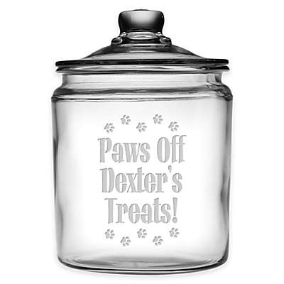 "Susquehanna Glass ""Paws off Dexter's Treats!"" 64 oz. Treat Jar with Lid in Clear"