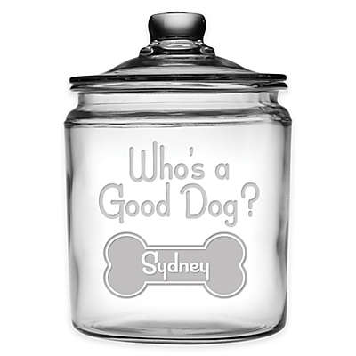 "Susquehanna Glass 'Who's a Good Dog?"" 64 oz.Treat Jar with Lid"