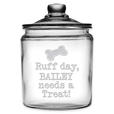 "Susquehanna Glass ""Ruff Day, Bailey Needs A Treat!"" 64 oz. Treat Jar with Lid"