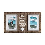 Prinz Sandpiper 2-Photo 4-Inch x 6-Inch  The Beach is My Happy Place  Resin Shell Frame in Natural