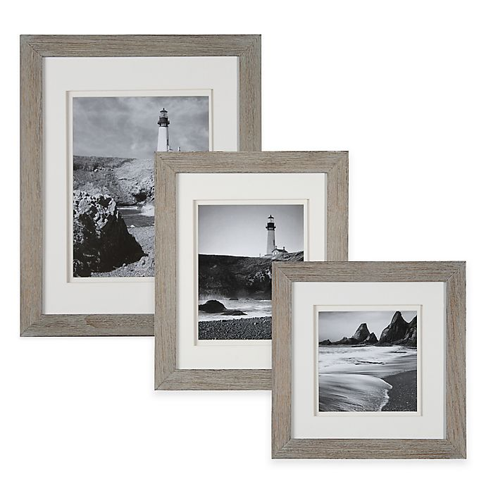 Alternate image 1 for Real Simple® Wood Portrait Frame in Grey Wash with White Double Mat