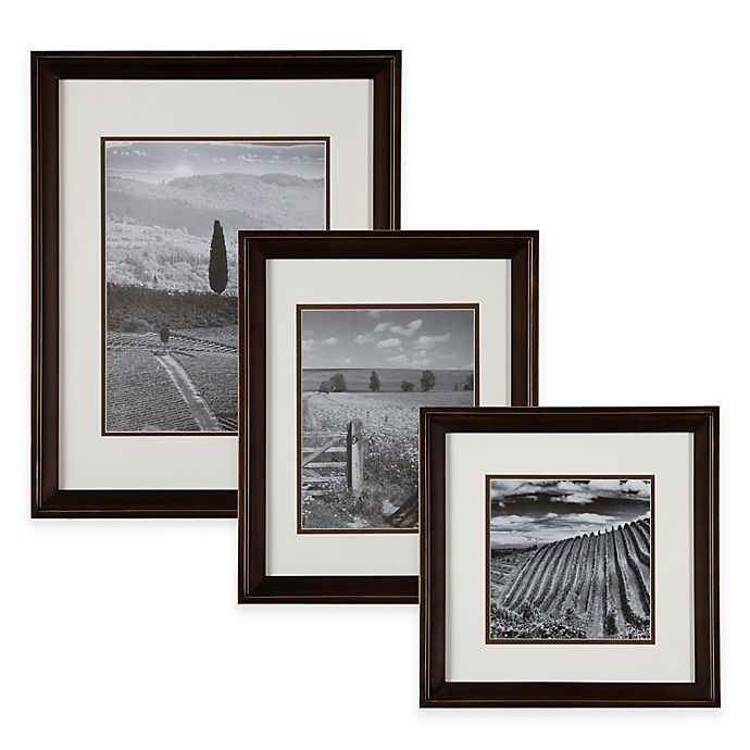 Alternate image 1 for Real Simple® Wood Portrait Frame in Bronze with White/Brown Double Mat