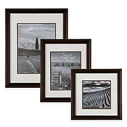 Real Simple® Wood Portrait Frame in Bronze with White/Brown Double Mat