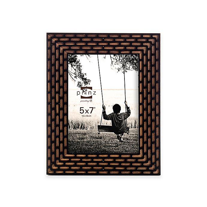 Alternate image 1 for Prinz Artisan 5-Inch x 7-Inch Laser Diecut Wood Frame in Walnut/Black