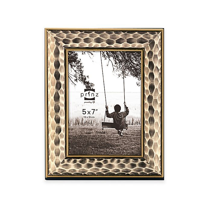 Alternate image 1 for Prinz Artisan 5-Inch x 7-Inch Hammered Wood Frame in Antique Champagne