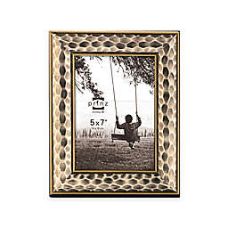Prinz Artisan 5-Inch x 7-Inch Hammered Wood Frame in Antique Champagne