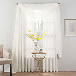 Smart Sheer™ Insulated Crushed Voile Sheer Window Curtain Panel and Valance
