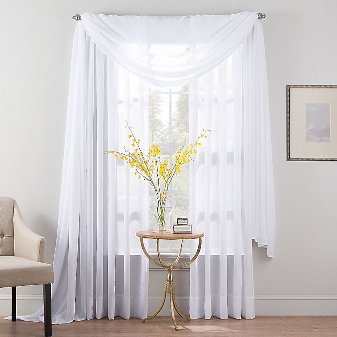Alternate image 1 for Smart Sheer™ 84-Inch Insulated Crushed Voile Rod Pocket Sheer Window Curtain Panel in White