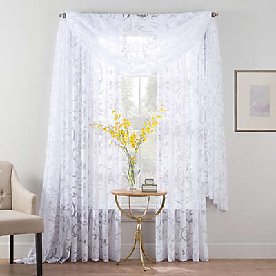 Smart Sheer™ Insulated Burnout Voile Sheer Window Curtain Panel and Valance