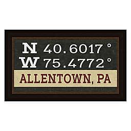 Allentown, Pennsylvania Coordinates 16-Inch x 28-Inch Framed Wall Art