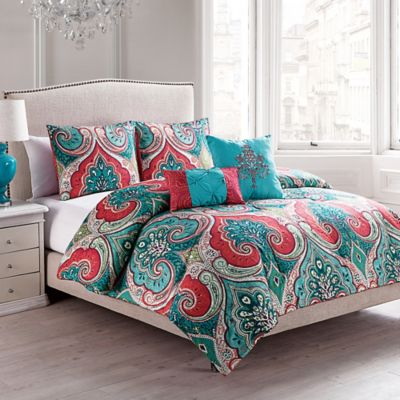 s complete small coral and teal bedroom vcny casablanca reversible comforter set in turquoise 242