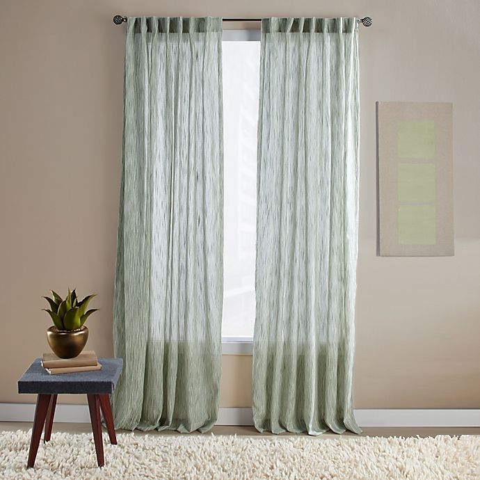 Alternate image 1 for Aspire Ikat 95-Inch Rod Pocket/Back Tab Window Curtain Panel in Green