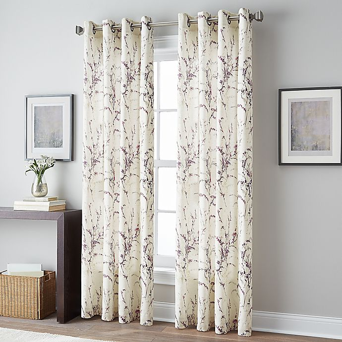 Alternate image 1 for Botanical Print Grommet Top Window Curtain Panel