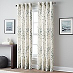Botanical Print 84-Inch Grommet Top Window Curtain Panel in Blue