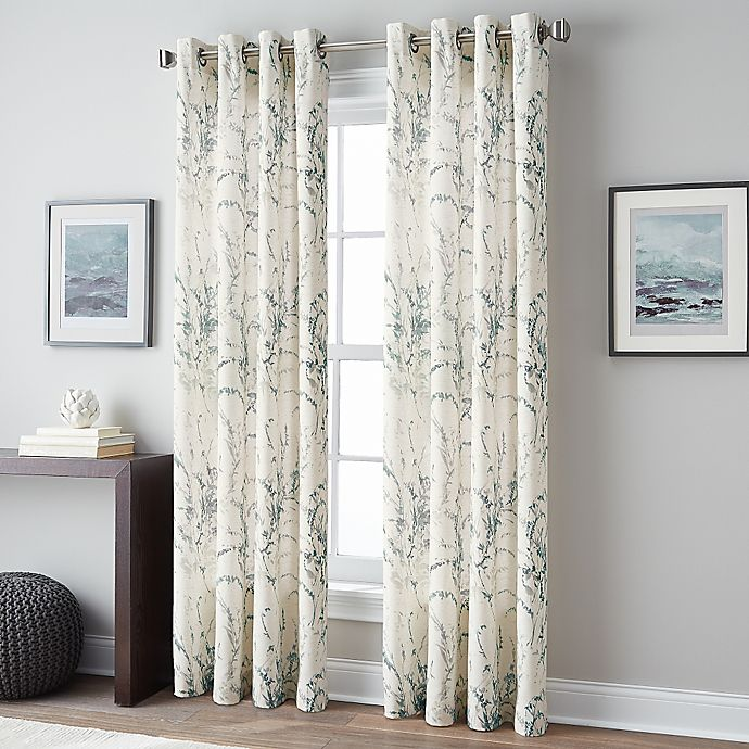 Alternate image 1 for Botanical Print 84-Inch Grommet Top Window Curtain Panel in Blue