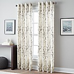 Botanical Print 84-Inch Grommet Top Window Curtain Panel in Charcoal