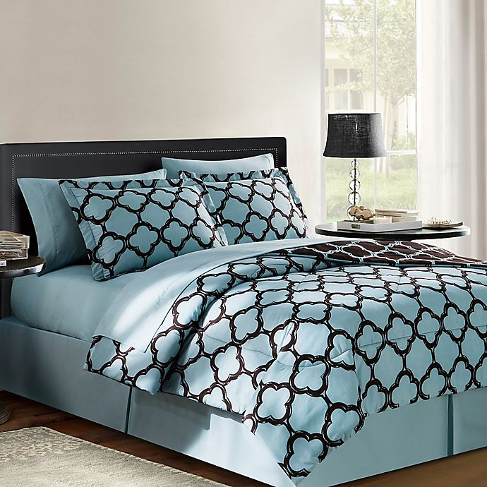 Alternate image 1 for VCNY Galaxy 6-Piece Reversible Queen Comforter Set in Blue/Chocolate