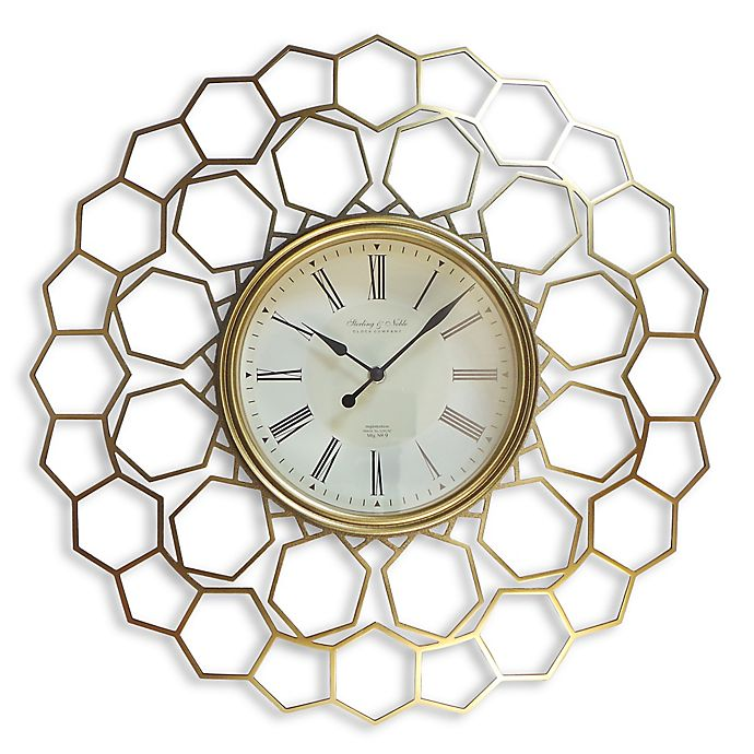 Sterling Amp Noble Hexagon Wall Clock In Gold Bed Bath