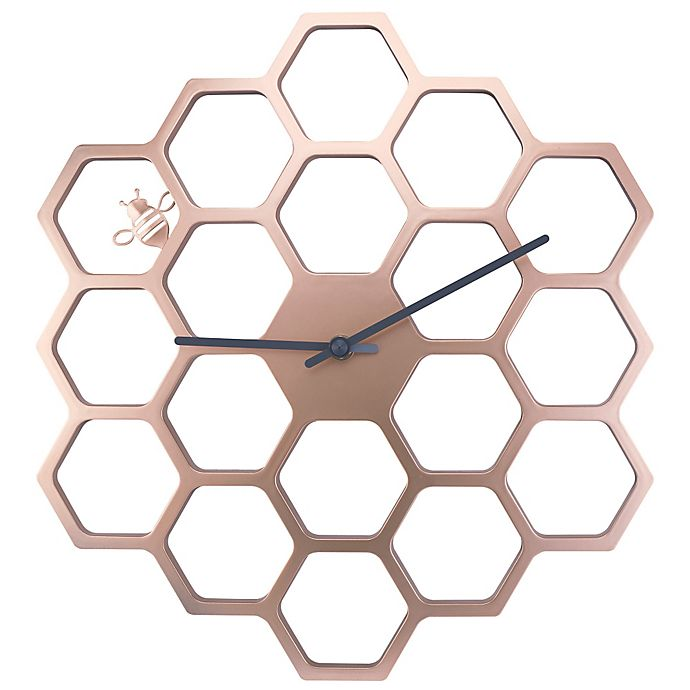 Alternate image 1 for Sterling & Noble Golden Honeycomb Wall Clock in Gold