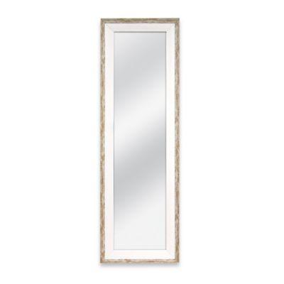 door solutions 48 inch x 12 inch weathered 2 tone over the door mirror in whitewash wood bed. Black Bedroom Furniture Sets. Home Design Ideas