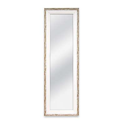 Door Solutions 48-Inch x 12-Inch Weathered 2-Tone Over-the-Door Mirror in Whitewash Wood